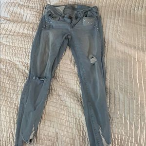 Zara cropped jean with beading